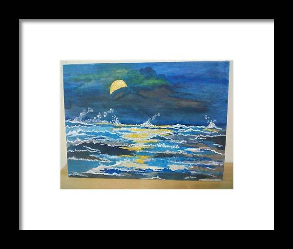 Seascape. Framed Print featuring the painting Restless Waves by Artist Asia