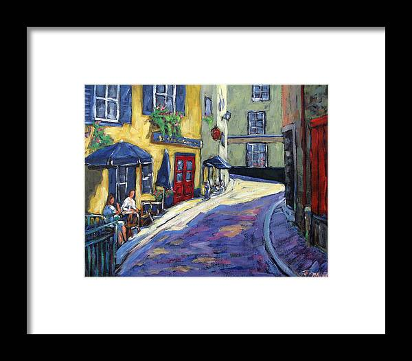 Restaurant Framed Print featuring the painting Resto Le Cochon Dingue In Old Quebec by Richard T Pranke