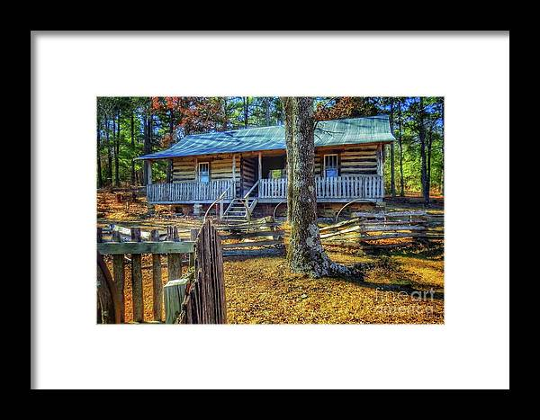 Family Restored Framed Print featuring the photograph Restored Log Cabin by John Myers
