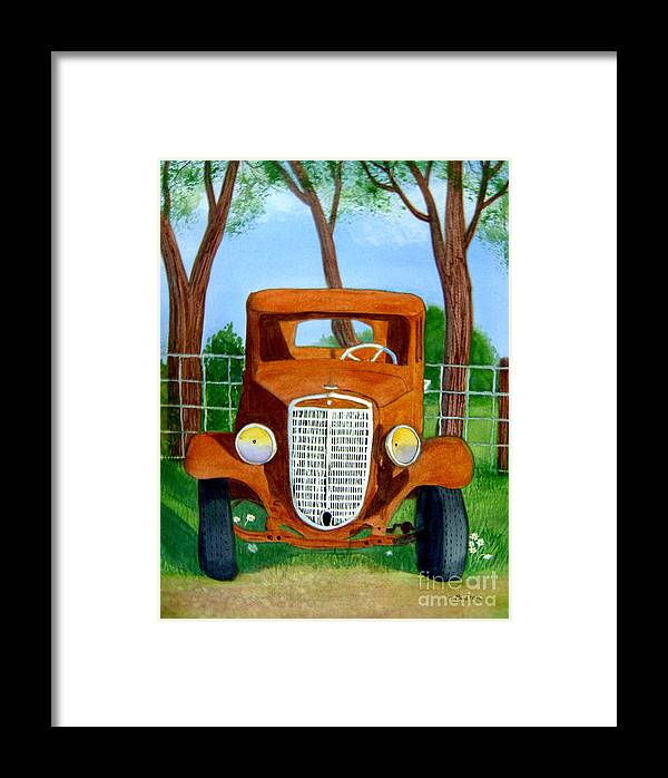 Car Framed Print featuring the painting Retired by Teresa Boston