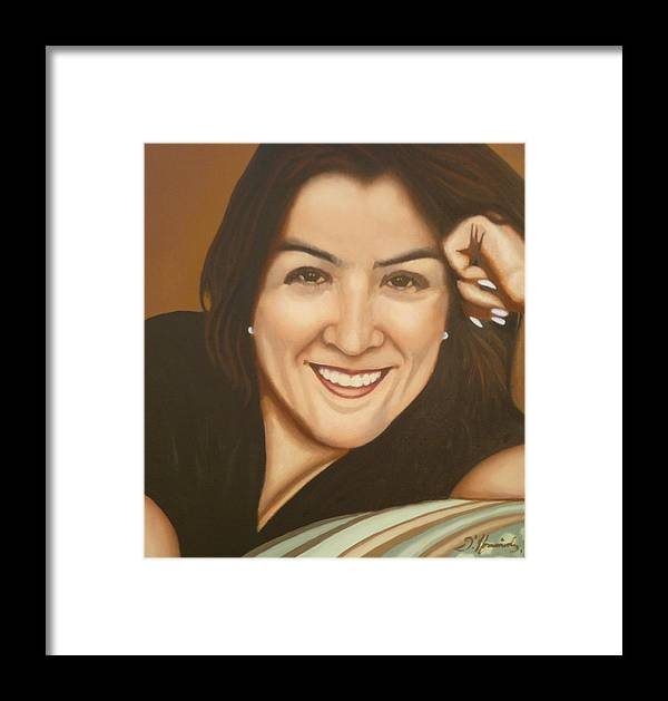 Retrato De Rocio Framed Print featuring the painting Retrato De Rocio by Fernando A Hernandez