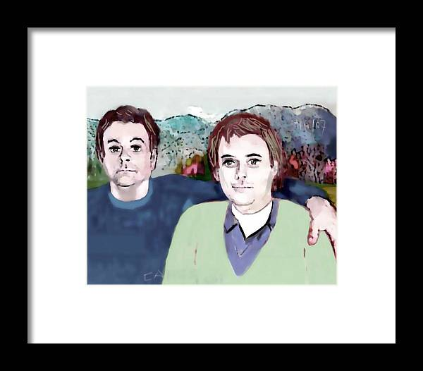 Art.paint Framed Print featuring the painting Retrato Mis Hijos Andres - Alejandro by Carlos Camus