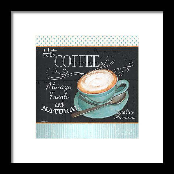 Coffee Framed Print featuring the painting Retro Coffee 1 by Debbie DeWitt