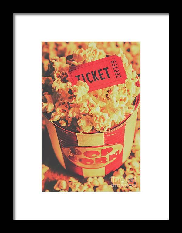 Retro Film Stub And Movie Popcorn Framed Print by Jorgo Photography ...