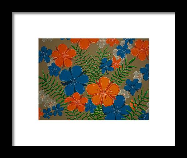 Acrylic Painting Framed Print featuring the painting Retro Flowers by Vicki Berchtold