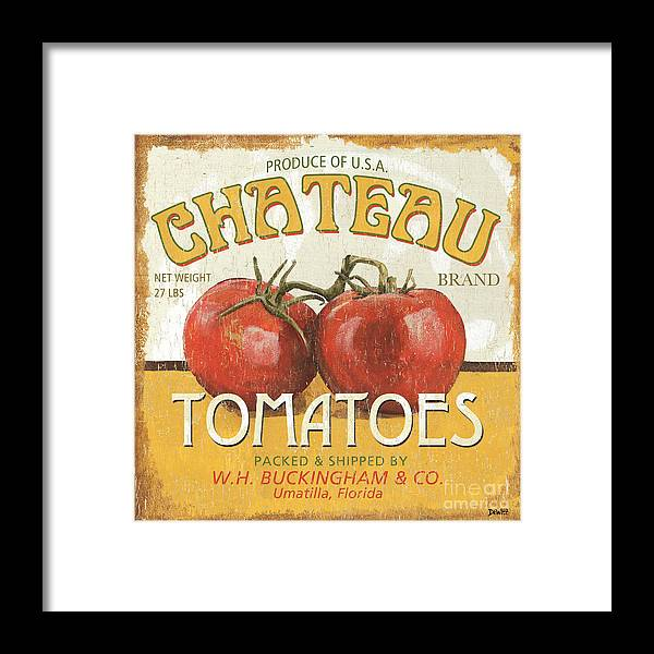 Food Framed Print featuring the painting Retro Veggie Labels 4 by Debbie DeWitt
