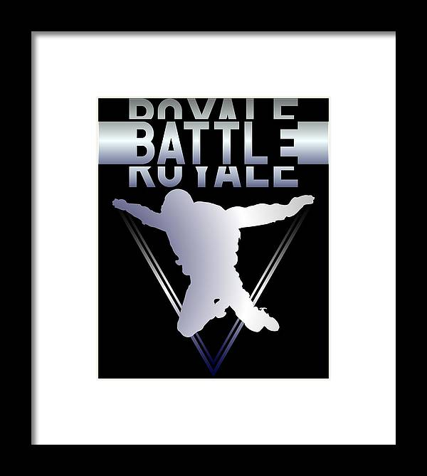 Battle-royale Framed Print featuring the digital art Retro Vintage 90s Chrome Skydiver Battle Royale Gamer T Shirt by Olivier Manjarrez