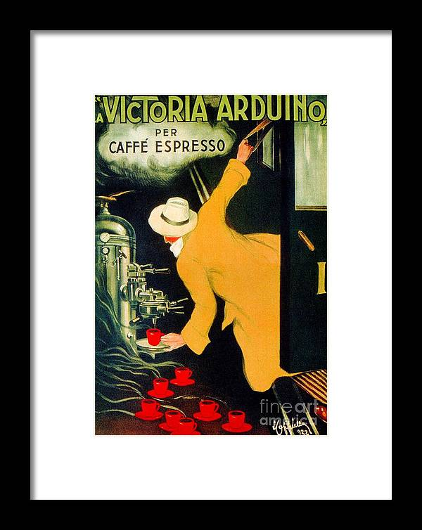 Coffee Framed Print featuring the digital art Retro Vintage Italian Coffee Machine Advertising by Heidi De Leeuw