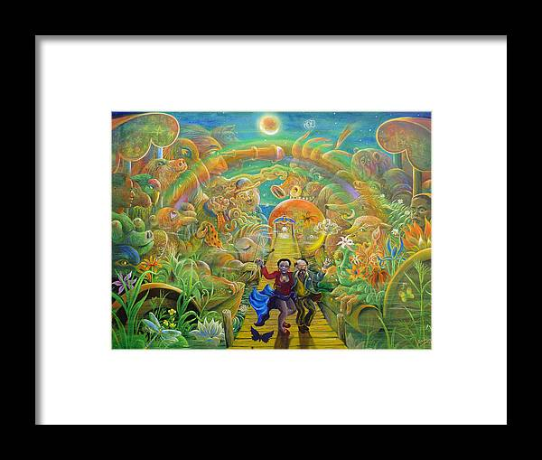 Flowers Surreal Peter Rodulfo Sun Moon Faces Bird Lotus Octopus Sloth Negro Boar Dog Dragonfly Paddle Boat Framed Print featuring the painting return from Hispaniola by Peter Rodulfo