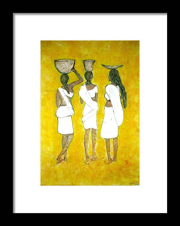 Women Framed Print featuring the painting Return From Market by Narayanan Ramachandran