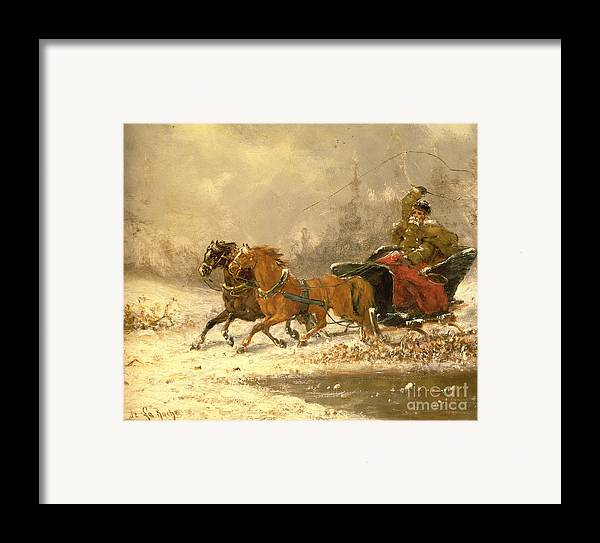 Returning Framed Print featuring the painting Returning Home In Winter by Charles Ferdinand De La Roche