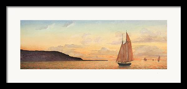 Seascape Framed Print featuring the painting Returning Home by Stephen Bluto