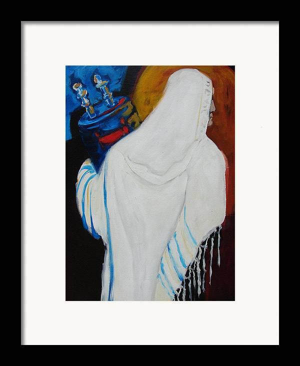 Torah Framed Print featuring the painting Returning The Torah by Renee Kahn