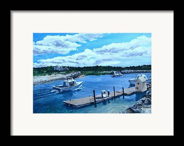 Seascape Framed Print featuring the painting Returning To Sesuit Harbor by Jack Skinner