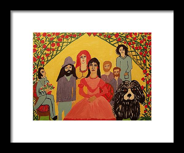 People Framed Print featuring the painting Reunion by Betty J Roberts