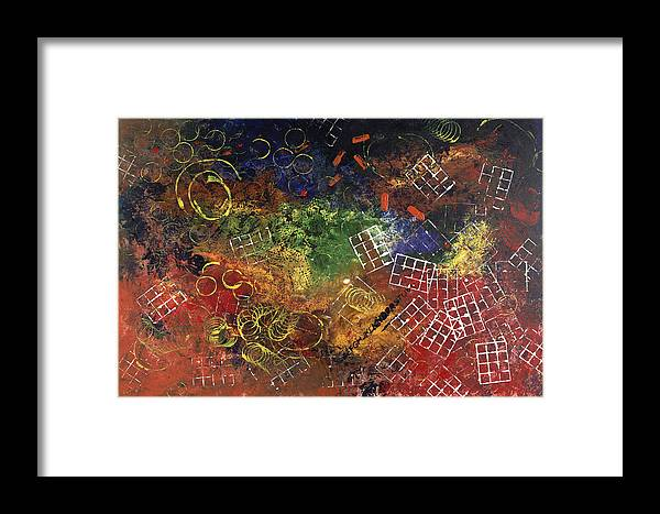 Abstract Framed Print featuring the painting Reunion by Dominique Boutaud