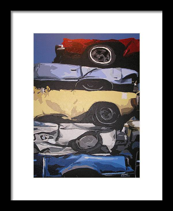 Cars Framed Print featuring the painting Reunited by Ricklene Wren