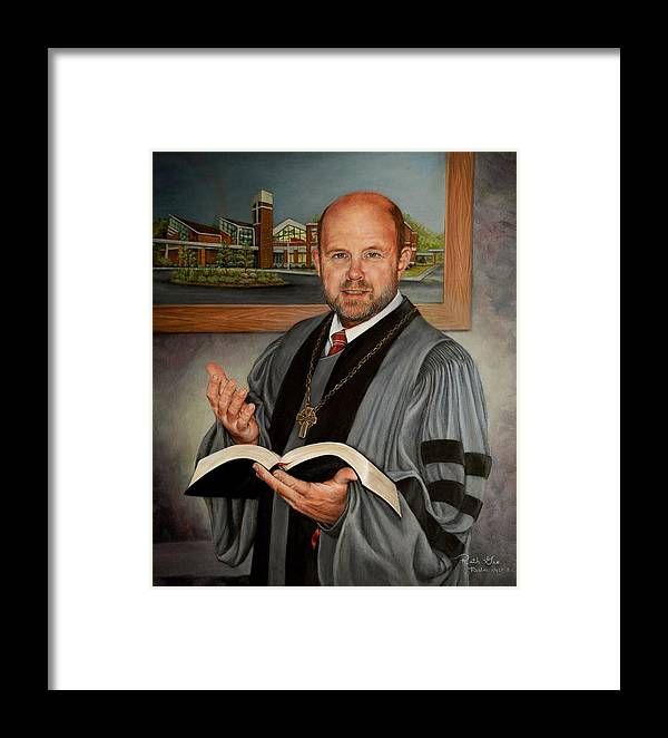 Reverend Framed Print featuring the painting Rev. Jeff Garrison by Ruth Gee