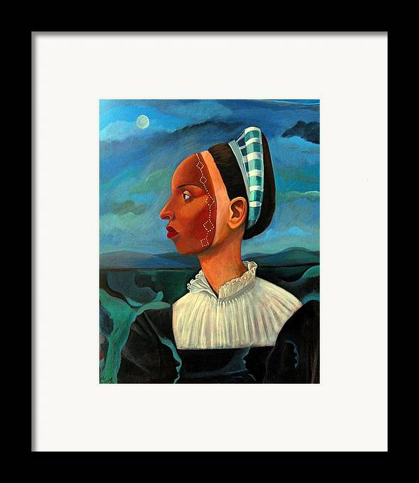 Woman Framed Print featuring the painting Revealed Truths And Myths IIi by Joyce Owens