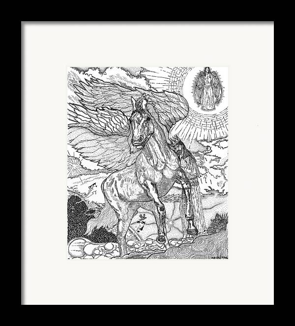 Horse Framed Print featuring the drawing Revelation  Return Of The King by Glenn McCarthy Art and Photography