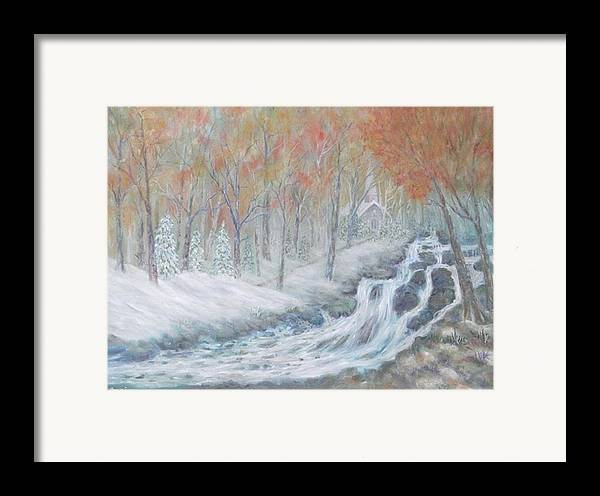 Snow; Landscape; Church Framed Print featuring the painting Reverence by Ben Kiger
