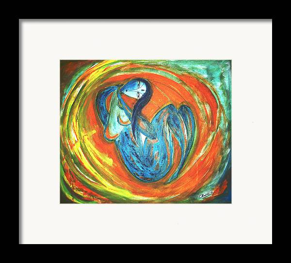 Woman Framed Print featuring the painting Reverie by Narayanan Ramachandran