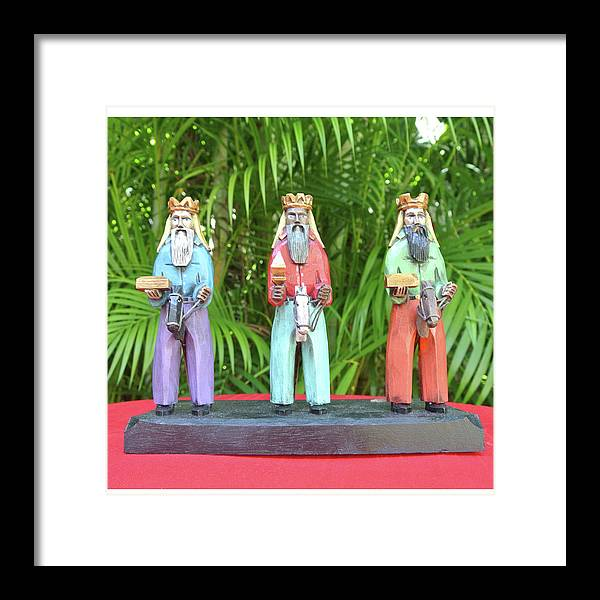 Tres Reyes Magos Framed Print featuring the mixed media Reyes Infantiles by Adrian Rodriguez