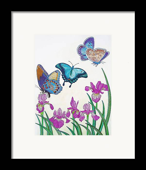 Butterflies Framed Print featuring the painting Rhapsody In Blue by Vlasta Smola