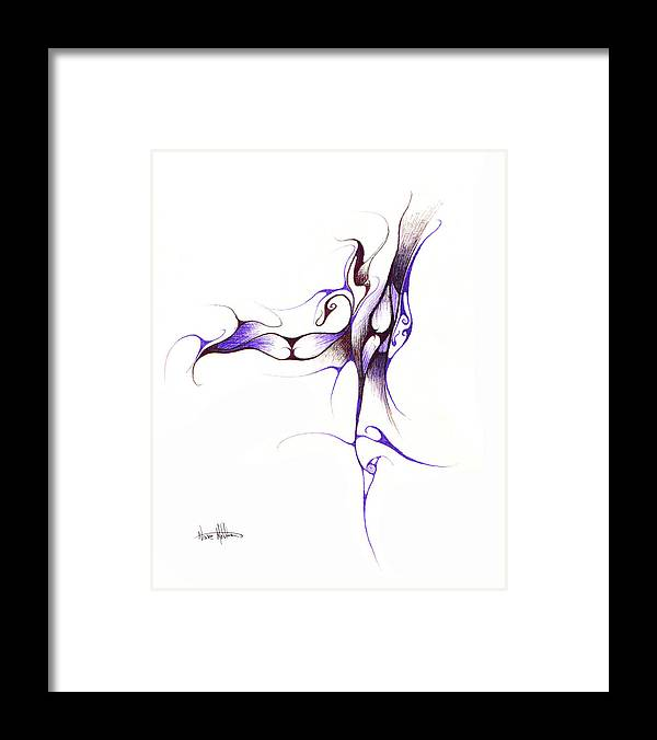 Abstract Framed Print featuring the drawing Rhapsody Of Contortion by Nathaniel Hoffman