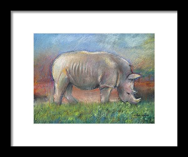 Rhino Framed Print featuring the pastel Rhino by Arline Wagner