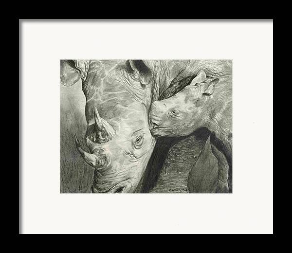 Rhino Framed Print featuring the drawing Rhino Love by Carla Kurt