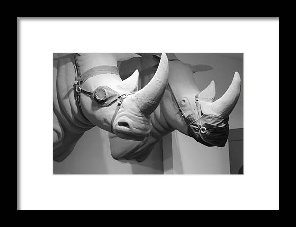 Macro Framed Print featuring the photograph Rhinos In Black And White by Rob Hans
