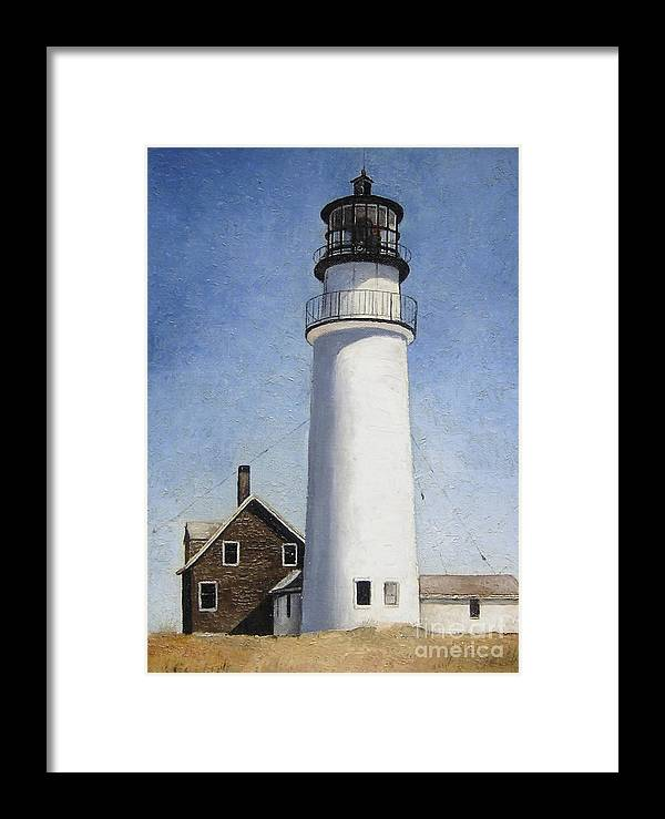 Lighthouse Framed Print featuring the painting Cape Cod Light by Mary Rogers