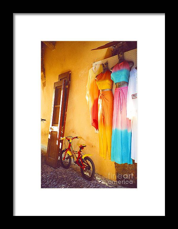 Rhodes Framed Print featuring the photograph Rhodes Bicycle by Andrea Simon