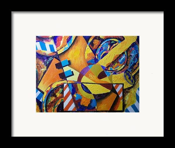 Saxophone Framed Print featuring the mixed media Rhythm by Angela Green