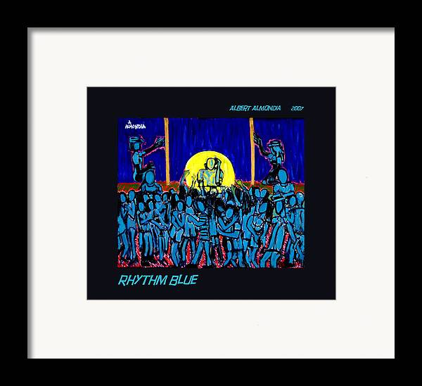Dancing Framed Print featuring the painting Rhythm Blue by Albert Almondia