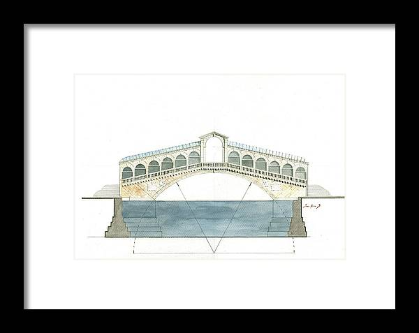 Architecture Artwork Framed Print featuring the painting Rialto Bridge Venice by Juan Bosco