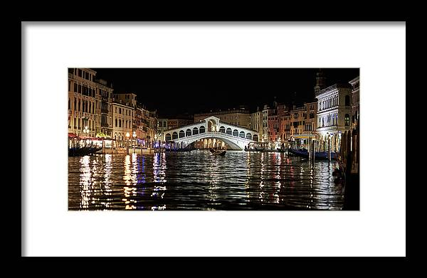 Venice Framed Print featuring the photograph Rialto Night - 4284 by Marco Missiaja