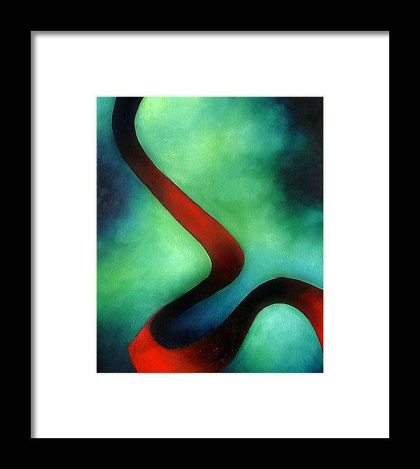 Red Framed Print featuring the painting Ribbon Of Time by Elizabeth Lisy Figueroa