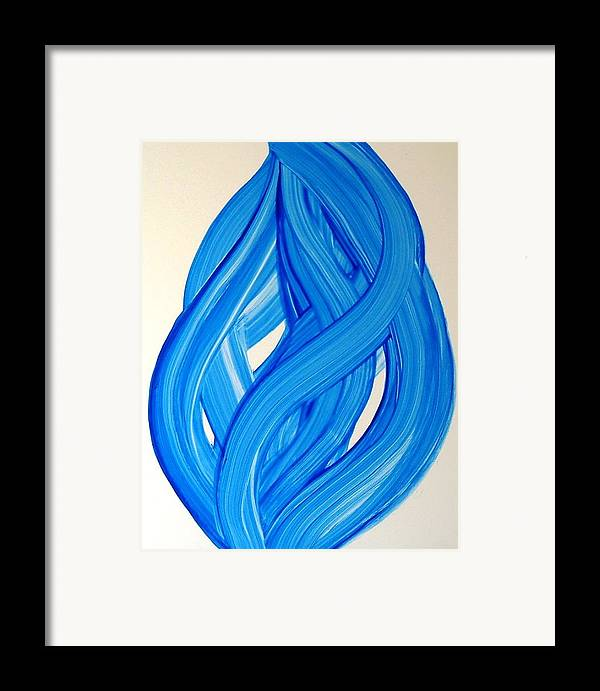 Abstract Modern Contemporary Yupo Art Painting Romantic Pop Blue Framed Print featuring the painting Ribbons Of Love-blue by Manjiri Kanvinde