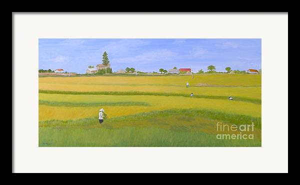 Scenic Framed Print featuring the painting Rice Field In Northern Vietnam by Thi Nguyen