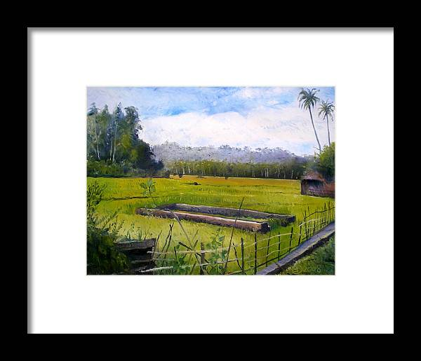Sumatra Framed Print featuring the painting Rice Fields At Laaiy Krui Lampung Sumatra Indonesia 2008 by Enver Larney