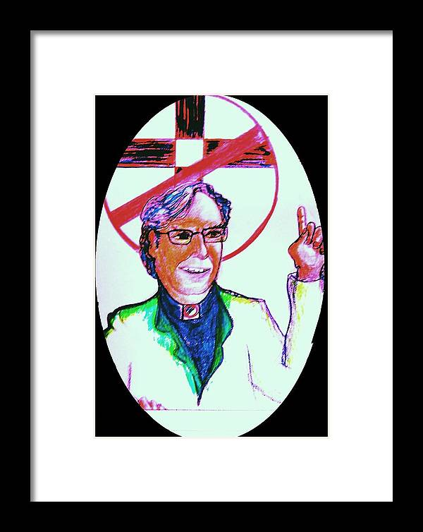 Atheist Framed Print featuring the drawing Richard Dawkins Loves To Preach by Richard Hubal