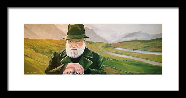 Irish Landscapes Paintings Ireland The Field Richard Harris Leenane Co Galway J.b Keane Framed Print featuring the painting Richard Harris In The Film Called The Field by Cathal O malley