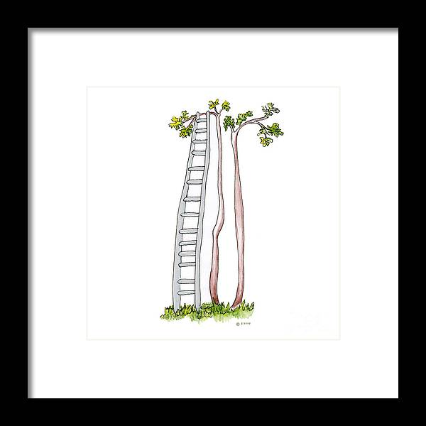 Illustration Framed Print featuring the drawing Rickety Ladder by Fran Henig