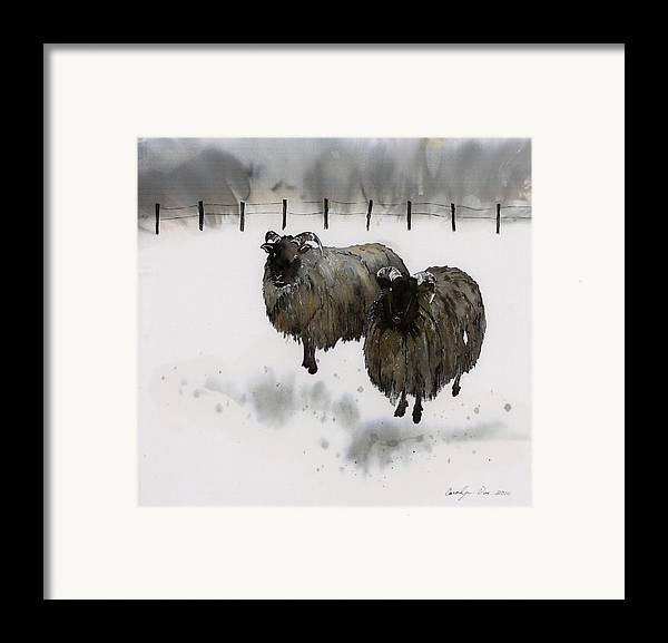 Sheep Framed Print featuring the tapestry - textile Ricks Farm by Carolyn Doe