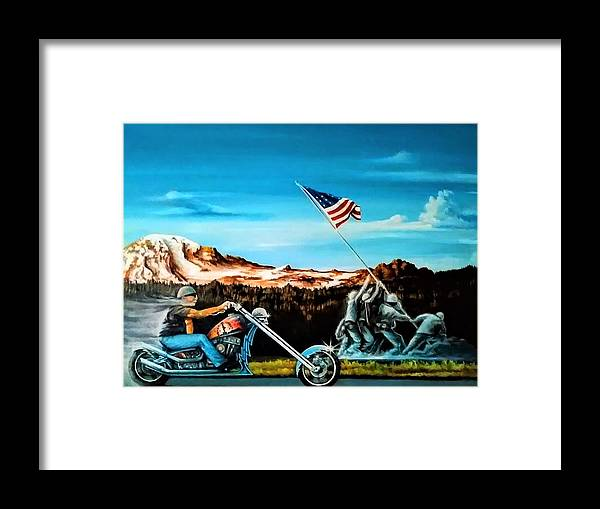 Iwojima Framed Print featuring the painting Ride Forever by DC Houle