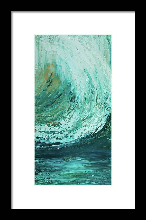 Ocean Framed Print featuring the painting Ride The Wave by K Batson Art