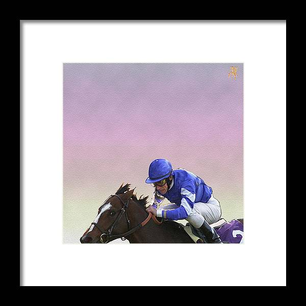 Horse Race Framed Print featuring the digital art Ride to Glory by John Helgeson