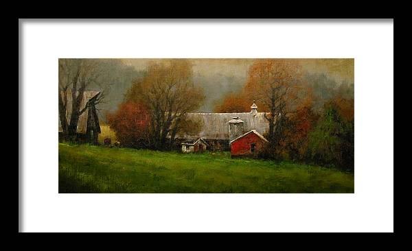 Farm Framed Print featuring the painting Ridgefield Farm by Jim Gola
